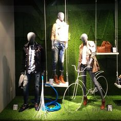 Spring has arrived @ Tiffosi Stores! #tiffosi #tiffosidenim #new #newcollection #spring #stores #spring15 #windowshopping #windowdisplay #windowdressing #look #inspiration #newin #musthave #bike #urbanbike #urban #grass #montra #escaparate