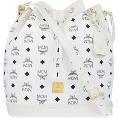 MCM Heritage drawstring shoulder bag ($995) ❤ liked on Polyvore featuring bags, handbags, shoulder bags, white, coated canvas handbag, white purse, white shoulder bag, mcm and shoulder bag purse