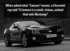 """A Camaro is a small vicious animal that eats Mustangs"" 32 cool car facts you didn't know! Click to view the video! #Camaro #spon"