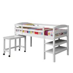 Solid Wood Twin Low Loft Bed w/ Shelves and Desk, White