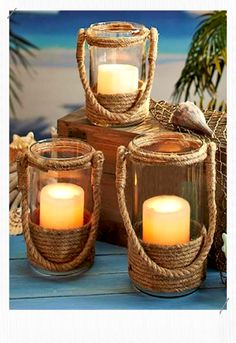Bring the coast to your home with a Nautical Rope Candle Lantern. The neutral color of the rope blends flawlessly with any decor. Set your favorite candle insid accent decorative, Nautical Rope Candle Lanterns Jute Crafts, Diy Home Crafts, Wood Crafts, Candle Lanterns, Diy Candles, Decorative Candles, Candle Art, Glass Candle, Rope Decor