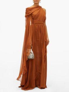 Dundas One-shoulder silk-chiffon gown Pretty Dresses, Beautiful Dresses, Orange Bridesmaid Dresses, Bridesmaid Gowns, Orange Gown, Grecian Dress, One Shoulder Gown, Fantasy Gowns, Festa Party