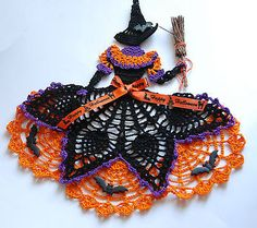 Crinoline Witch Doily / Hand Crochet W Bats / Halloween Decoration / New