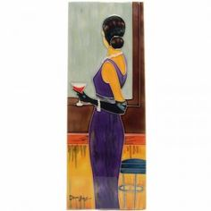 Ceramic Art Tile - Lady with purple dress. Vibrant coloured tile with a mdf timber backing in which is embedded a wall mounting ring.