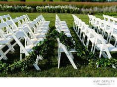 Garland Wedding Ceremony Decor — Green and White Wedding Palette | Amy Deputy Photography & Co.