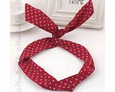 Headband fil de fer rockabilly rouge à pois