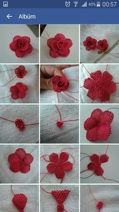 This Pin was discovered by Dil Needle Tatting, Tatting Lace, Needle Lace, Crochet Flower Tutorial, Crochet Flowers, Fabric Flowers, Loom Knitting Patterns, Tatting Patterns, Crochet Patterns