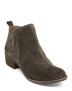 Basel Zippered Bootie in Green Suede | Lucky Brand