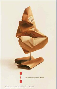 Knoll print ad from 1958 for Eero Saarinen's Tulip Chair