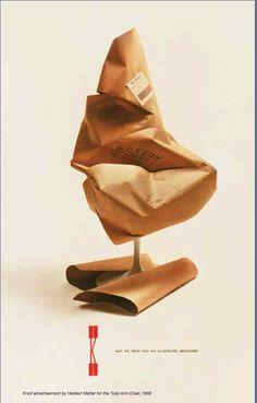 vintage Knoll print ad teasing new tulip chair, 1959