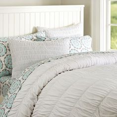 Ruched Jersey Duvet Cover + Sham #potterybarnteen (comes in a heathered gray) possibly for the office day bed??
