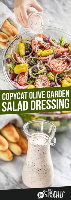 Copycat Olive Garden Salad Dressing - This Copycat Olive Garden Salad Dressing brings that smooth and zesty flavor home to toss into your favorite green salad. It's simple and quick to make with nearly universal appeal! Source by stayathomechef - Olive Garden Dressing, Olive Garden Salad, Olive Salad, Vinaigrette, Olives, Quick Meals To Make, Stay At Home Chef, Healthy Salad Recipes, Healthy Eats