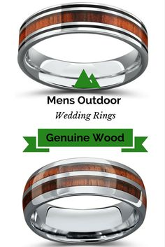 OMG! My future husband loves the outdoors. One of these wood wedding rings would be perfect for him. They are made with genuine koa wood and made out of the most durable metal... tungsten carbide. These wood wedding bands are sooo unique!