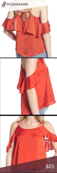 "BP. Drape Ruffle Camisole - Nordstrom - NWT Perfect, fiery red color for summer to make a statement, in this NWT BP. top from Nordstrom. XS fiery red  strappy cami that can be dressed up for date night with the sweetly flirty ruffles and satiny finish. Cold shoulder, adjustable tie spaghetti straps, scoop neck & flutter sleeves, Approx 16"" from center front length (size Medium).    100% polyester  True to size. BP. Tops Blouses"