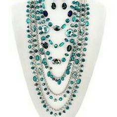 Chic & Fabulous Layered Necklace & Earring Set Chic and trendy teal layered necklace and earring set. There are hints of other blues and purples depending on how the light hits the necklace. Brand new. Never worn. Jewelry Necklaces