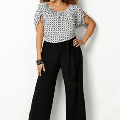 Printed Bodice Jumpsuit-Plus Size Jumpsuit-Avenue   $36.00