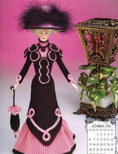 October 1996 Calendar Bed Doll Society Crochet Pattern Book Annies Attic…