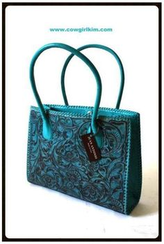 Tooled leather turquoise purse