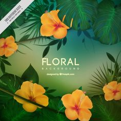 Yellow tropical flowers with leaves background Free Vector