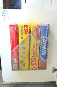 Use a magazine holder to store food wraps | 25+ Organization ideas for the home
