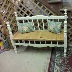 Benches Made From Bed Frames | Garden bench from bed frame
