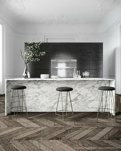 Amazing gallery of interior design and decorating ideas of Marble Waterfall Edge Kitchen Island in kitchens by elite interior designers. & 90 best Natural Stone in Kitchen images on Pinterest | Kitchen ...