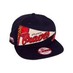 Atlanta Braves 9Fifty Team Color New Era Old Pennant Snapback Adjustable Hat by New Era. $19.00. Adjustable back. 100% Cotton. Six panel construction with eyelets. Vibrant team colors and embroidered graphics. Old Pennant 9Fifty Snapback Adjustable Hat. The 9FIFTY Old Pennant Snapback Cap from New Era features: - 100% cotton twill cap - Combination embroidery and felt logo decoration on front - Flat embroidered team logo on side - Plastic snap back adjustable closure
