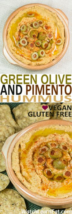 This Green Olive and Pimento Hummus is sure to please your party guests and goes great served with tortilla chips, pita chips or fresh veggies. Appetizer Dips, Appetizer Recipes, Snack Recipes, Potato Recipes, Dinner Recipes, Healthy Afternoon Snacks, Healthy Snacks, Fingers Food, Whole Food Recipes