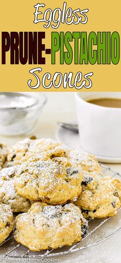 These Eggless Prune-Pistachio Scones are über buttery and flaky! Made from scratch with prunes and pistachios, these scones make a delightful sweet treat for any occasion. They will be a big hit every time you make them. Eggless Recipes, Easy Recipes, Nut Recipes, Breakfast Recipes, Dessert Recipes, Pastries Recipes, Breakfast Ideas, Prune Recipes, Delicious Desserts