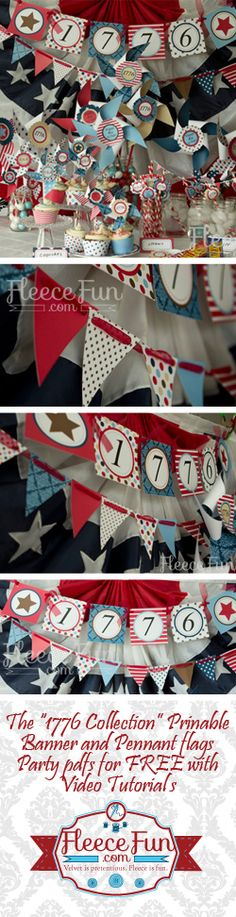 FREE printable pdf Fourth of July Banner and pennant flags.  Video tutorials to show you how to do it!