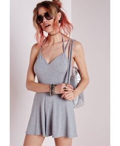 Jersey Double Strap Playsuit Grey Marl - Jersey - Playsuits - Missguided