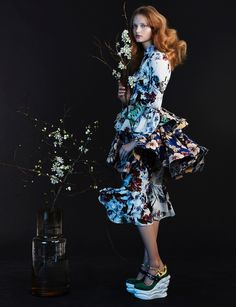 Embracing ruffles, Valou Weemering models floral print dress