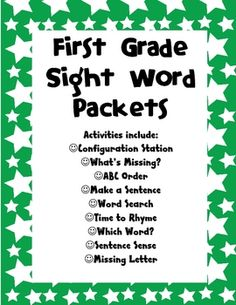 First Grade Sight Word Packets image 2