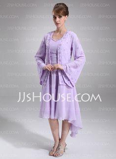 Mother of the Bride Dresses - $99.99 - A-Line/Princess V-neck Knee-Length Chiffon Mother of the Bride Dress With Beading (008005645) http://jjshouse.com/A-Line-Princess-V-Neck-Knee-Length-Chiffon-Mother-Of-The-Bride-Dress-With-Beading-008005645-g5645