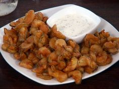 Fried Bread and Butter Pickles with Buttermilk Chive Dressing recipe from Diners, Drive-Ins and Dives via Food Network