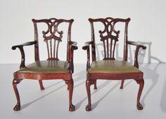 Vintage 1980 Dollhouse Miniature Artisan John Hodgson Set 6 Chippendale Chairs
