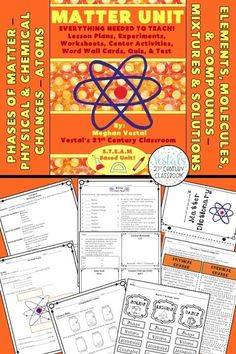 This matter cycle unit has detailed lesson plans, worksheets, hands-on activities, assessments, and more! #vestals21stcenturyclassroom #sciencelessons #scienceunits #scienceupperelementary #matterunit #matterlessons #matterlessons