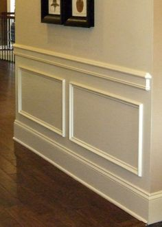 Add character to a plain wall with trim, baseboard and molding details.    I've seen this done and it's amazing how realistic it is! Unless you touch it and feel the drywall between the mouldings, you would never know that it's not a full paneled wainscot!