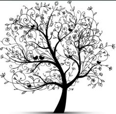 Big Floral Tree and Birds Silhouet Template-Stencil