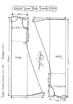 Esquema de Molde de Vestido de Malha tamanho M (42/44).