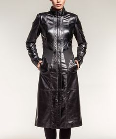 Another great find on #zulily! Black Long Shearling Trench Coat #zulilyfinds