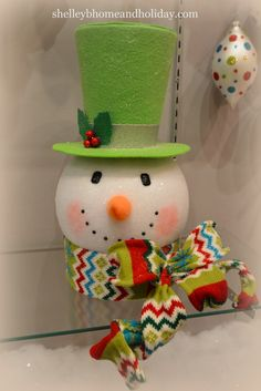 Snowman head Christmas tree topper, new design available at www.shelleybhomeandholiday.com