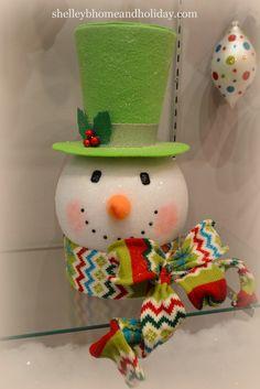 Snowman head Christmas tree topper,Tinsel Tangle RAZ 2016 Christmas www.shelleybhomeandholiday.com