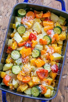 Roasted Vegetables uses the best of Fall vegetables: butternut squash, potatoes, zucchini, carrots and bell peppers. Perfect holiday side dish! | natashaskitchen.com