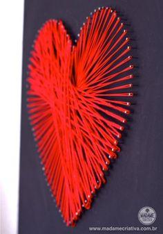 """Como fazer o quadro coração amarrado-  Passo a passo com fotos - How to make the frame for """"Coração amarrado - tied heart""""- DIY tutorial  - Madame Criativa - www.madamecriativa.com.br"""