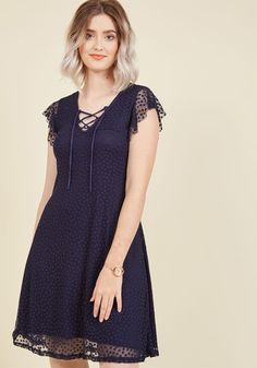 Womens - What charismatic looks you'll create with this navy blue dress as the starring piece! The fluttery cap sleeves, lace-up neckline, and comfortable knit fabric of this ModCloth-exclusive frock receive ador Midnight Blue Bridesmaid Dresses, Casual Dresses, Fashion Dresses, Pretty Dresses, Knit Dress, Vintage Dresses, Short Sleeve Dresses, Modcloth, Clothes