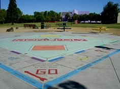 Monopoly in the Park is the world's largest Monopoly Board according to the Guinness Book of World Records.  This playable board allows you to become a life-sized game token. Located in Discovery Meadow in downtown San Jose, CA.