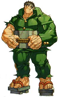 Gan Isurugi - Rival Schools; student from Gedo High and member of the school's gang. Gan is a very big & fun-loving guy with immense physical strength. so simple-minded that he'll believe just about anything, thus, can be taken advantage of. His ending in the first game, has inspired him by his experiences to begin studying hard in class, albeit without much success. Gan's techniques are based on Sumo wrestling.
