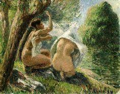 """Camille Pissarro (1830-1903) ~ """"Baigneuses"""", 1894 ~ Huile sur Toile 35 x 27 cm ~ Collection Privée"""