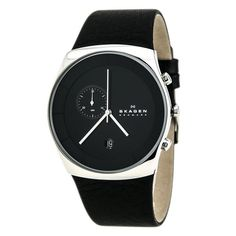 A solid black dial accented by silver tone hands and the Skagen logo sits atop a black leather strap with a pin buckle to create this stunning men's watch. A calendar window at 6:00 completes the look